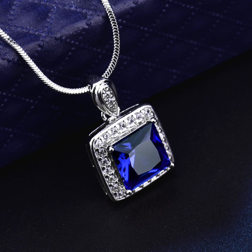itm gold silver square retro lady pendant gemstone sapphire necklace filled colorful