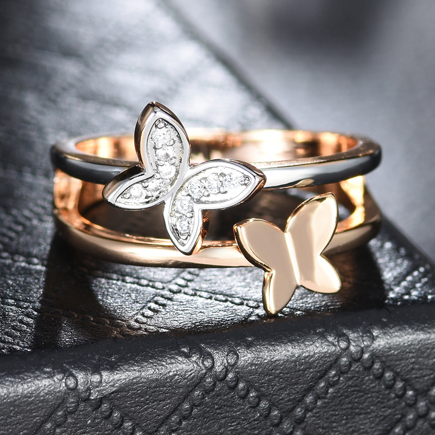 Two Butterfly Silver /& Gold Filled Clear Crystal Rhinestone Women Wedding Rings