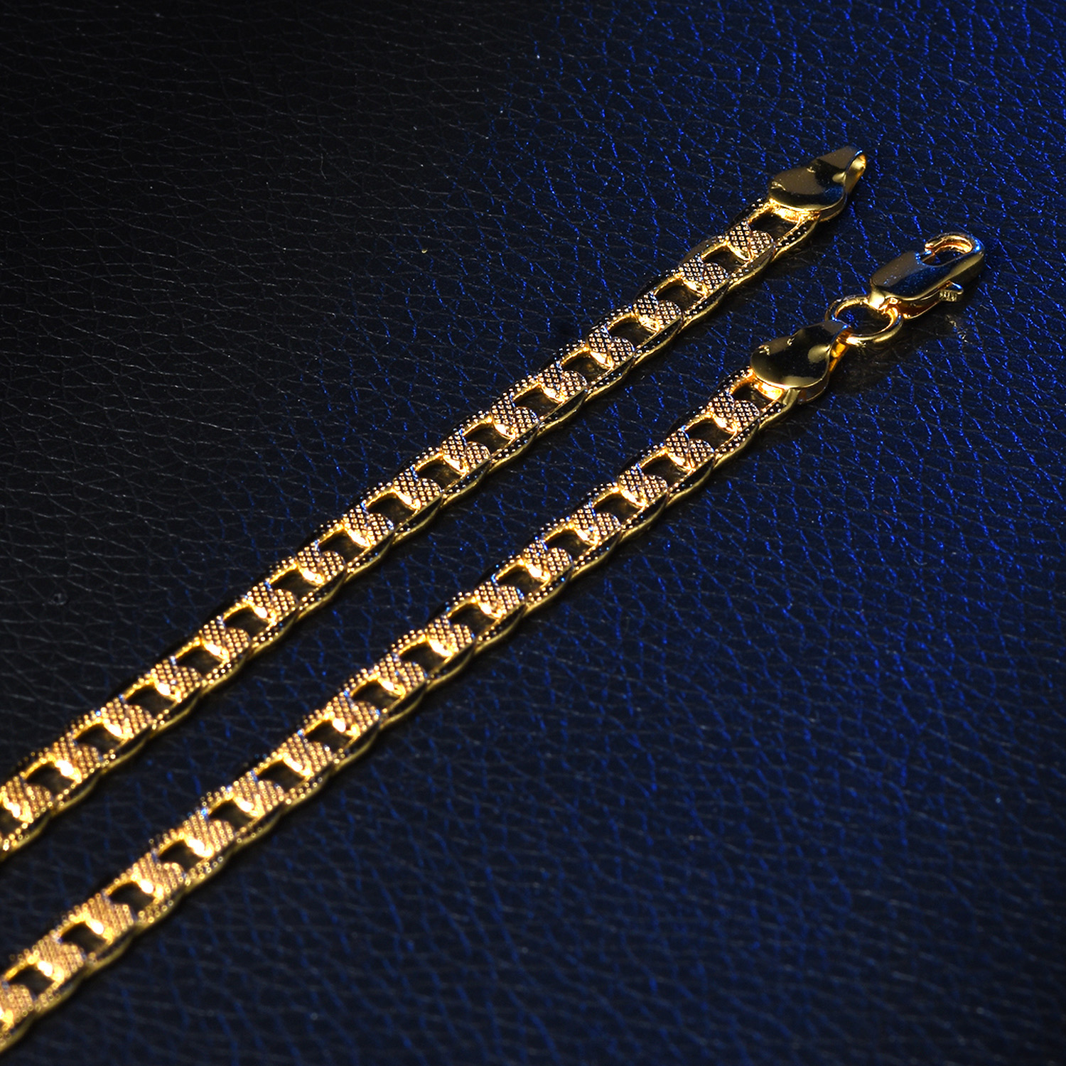 6fe230513fefb Details about 6mm Flat Side Pattern Curb Gold Filled Stainless Steel Women  Men Necklace Choker