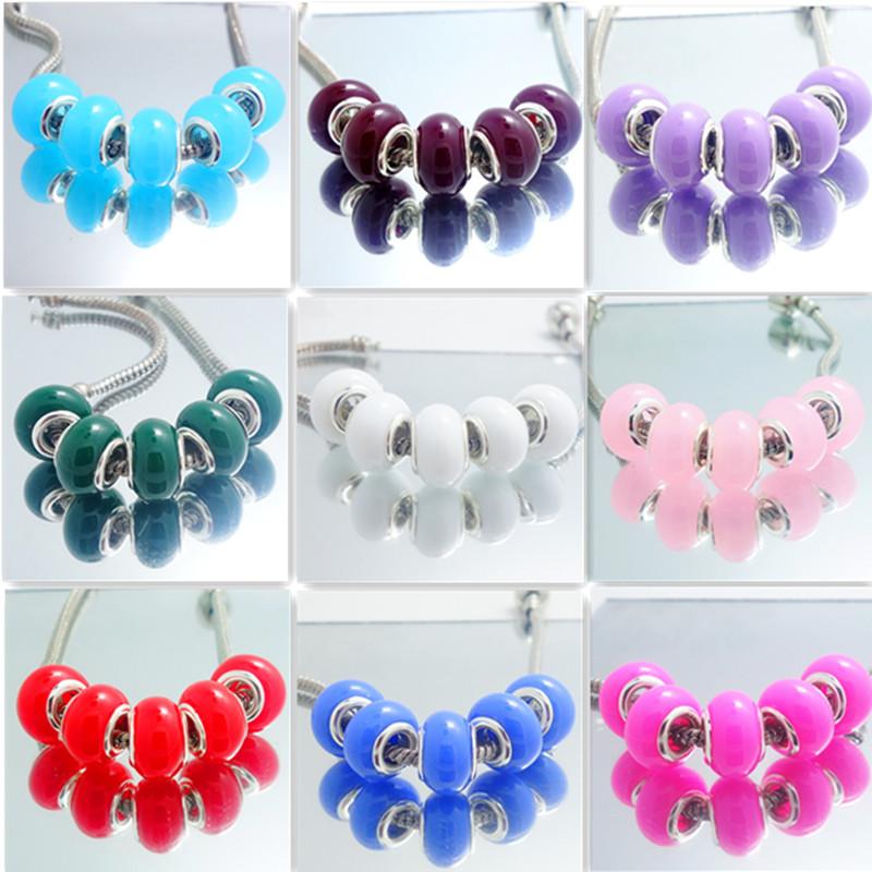 10pcs silver rainbow MURANO bead LAMPWORK fit European Charm Bracelet DIY V2301