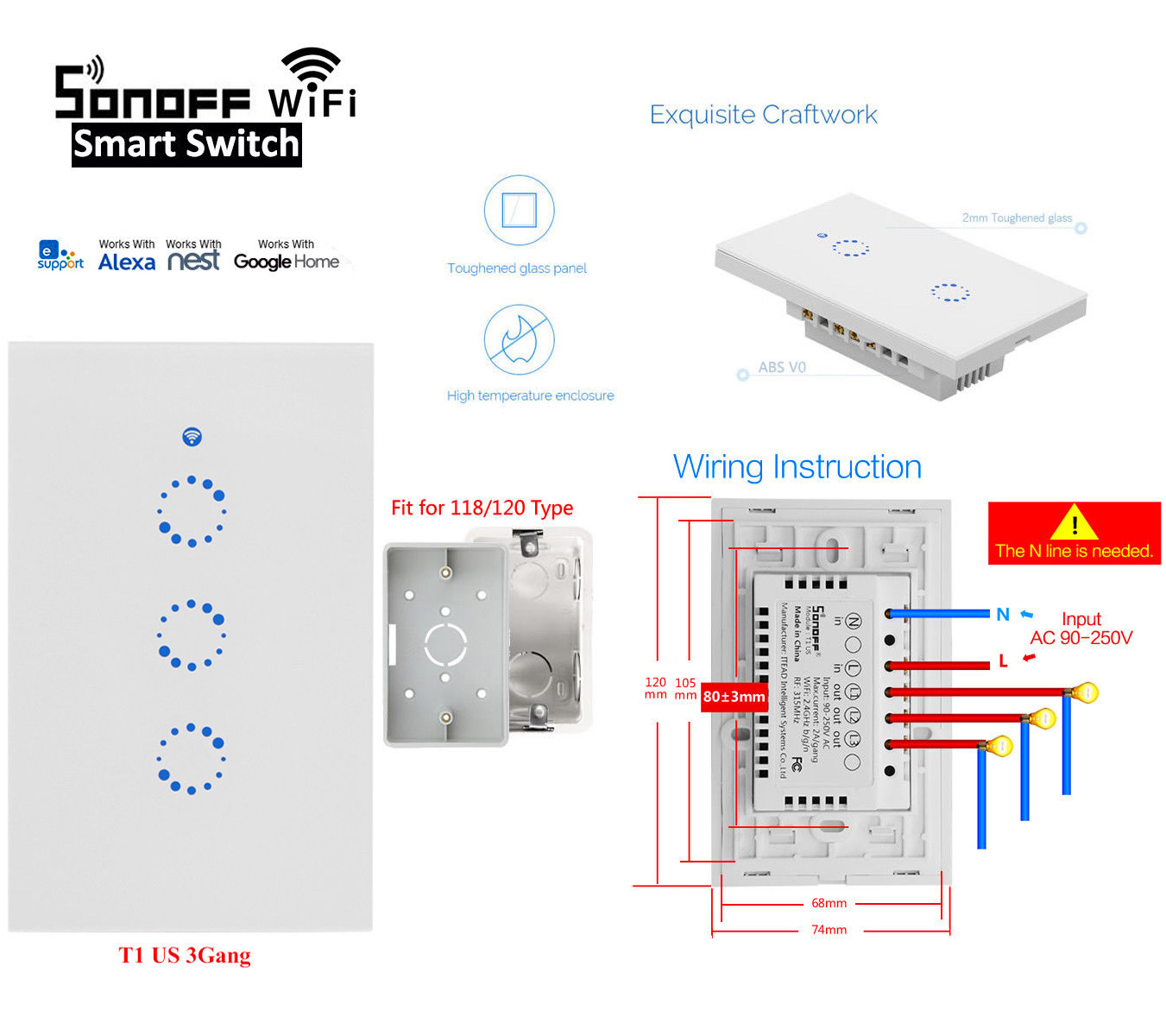 Sonoff T1 Us 1  2  3 Gang Smart Touch Light Switch Wifi Rf