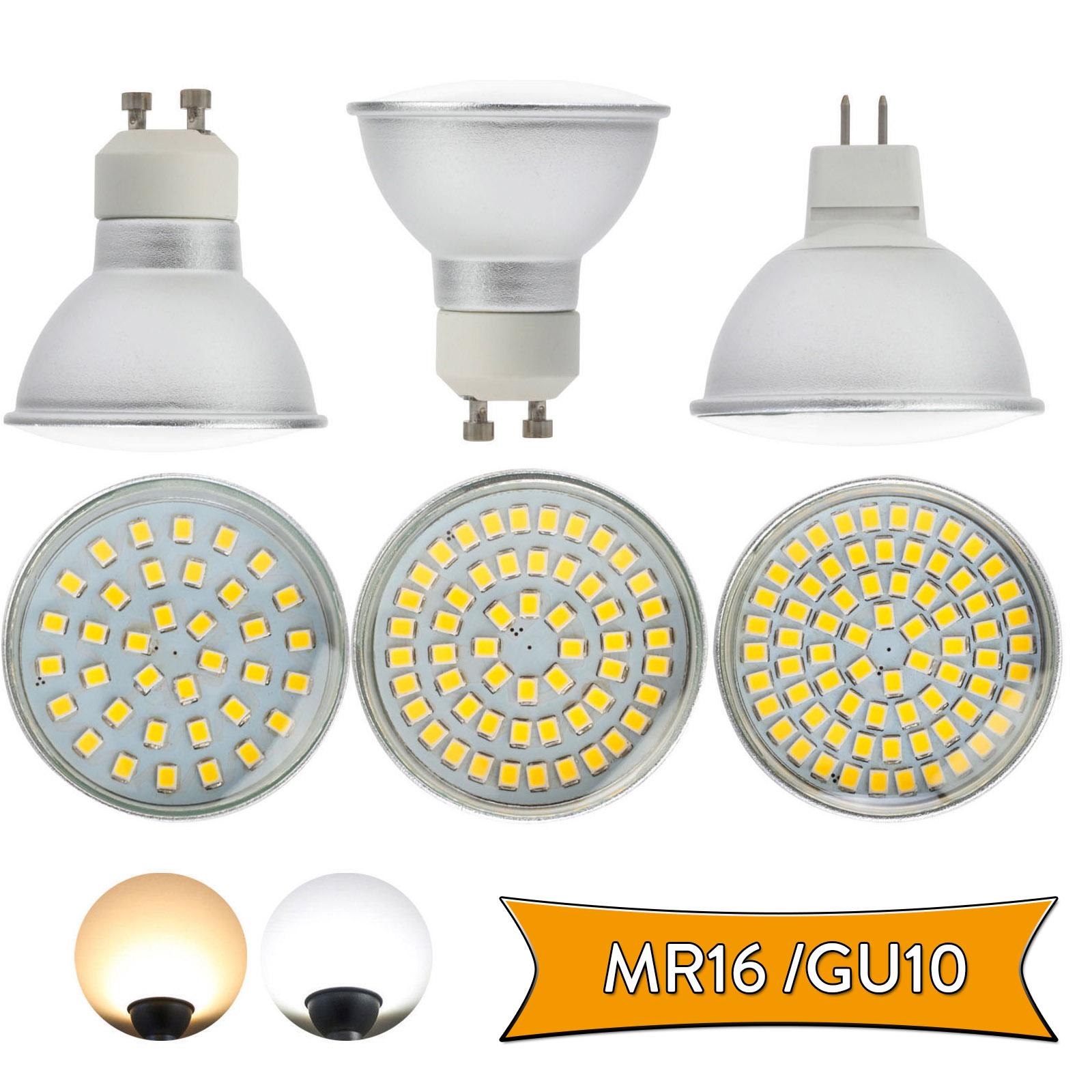 GU10 LED Spot Light Bulbs Glass MR16 4W 6W 8W 3528 SMD 110V 220V DC 12V Lamp