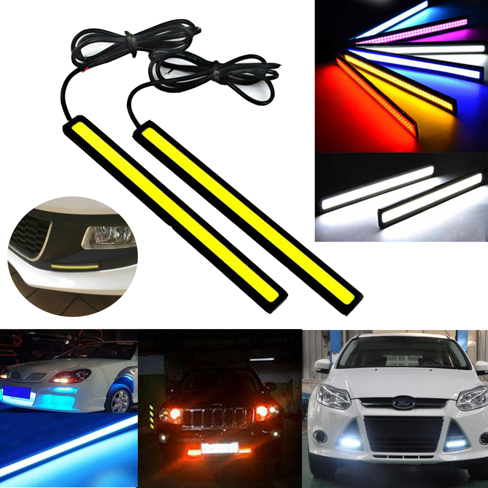2x Replace Bright White Car COB LED Lights DRL Fog Driving Lamp Waterproof