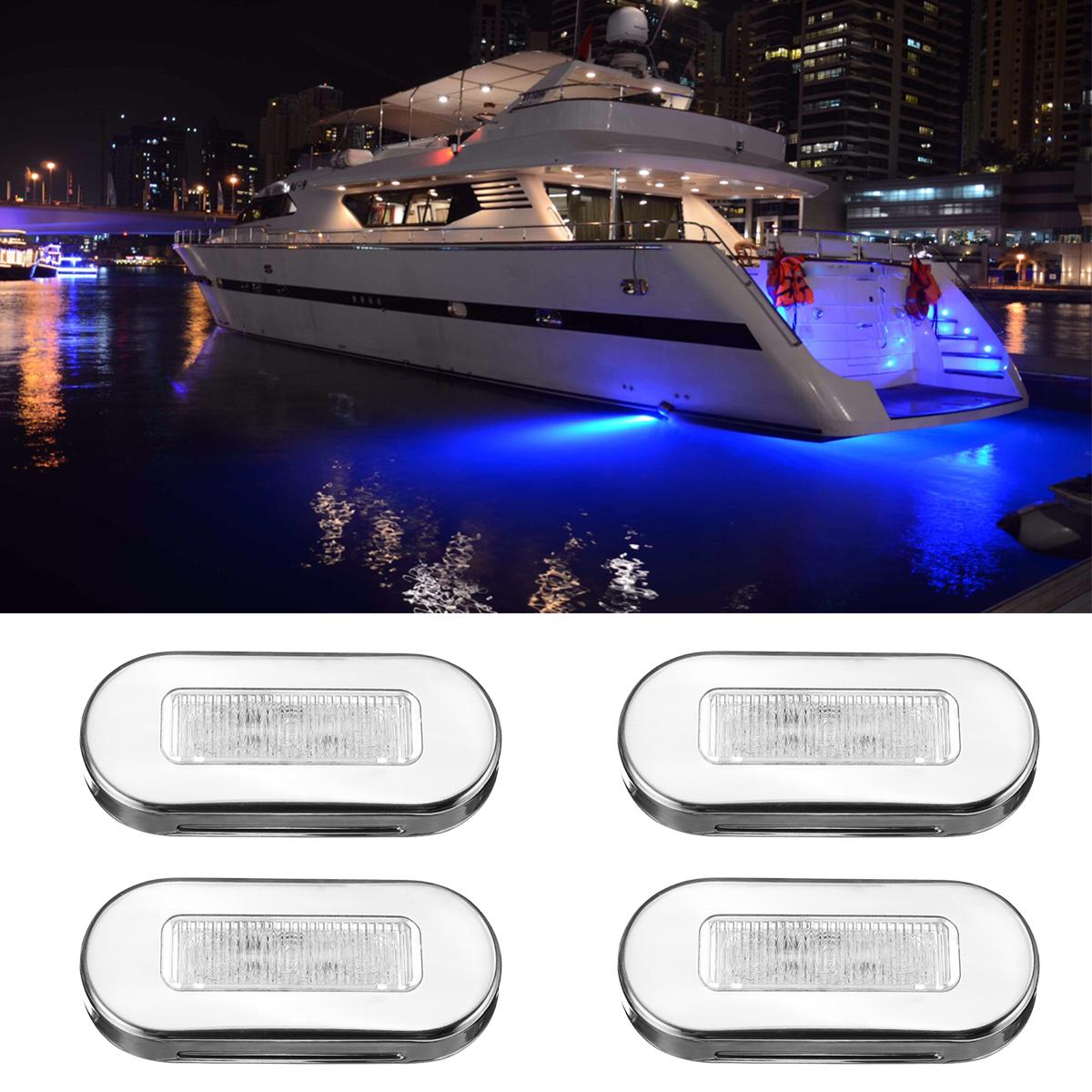 4X Red LED 12V Marine Boat Courtesy Light RV Yacht Deck Outdoor Step Light