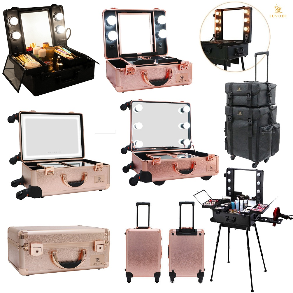Hollywood Rolling Cosmetic Make Up Trolley Case W Lighted