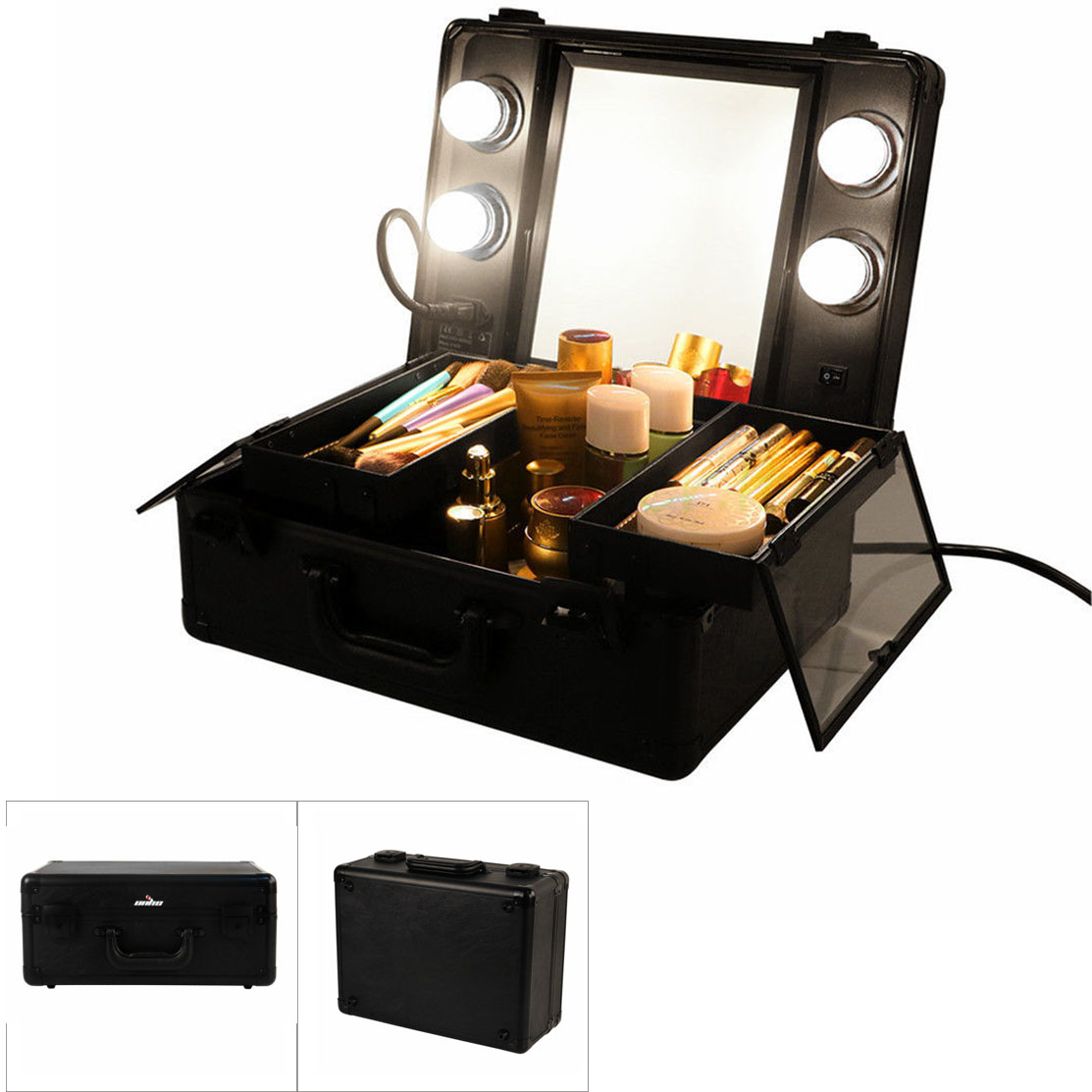 Hollywood Style Portable Makeup Case Station With 4
