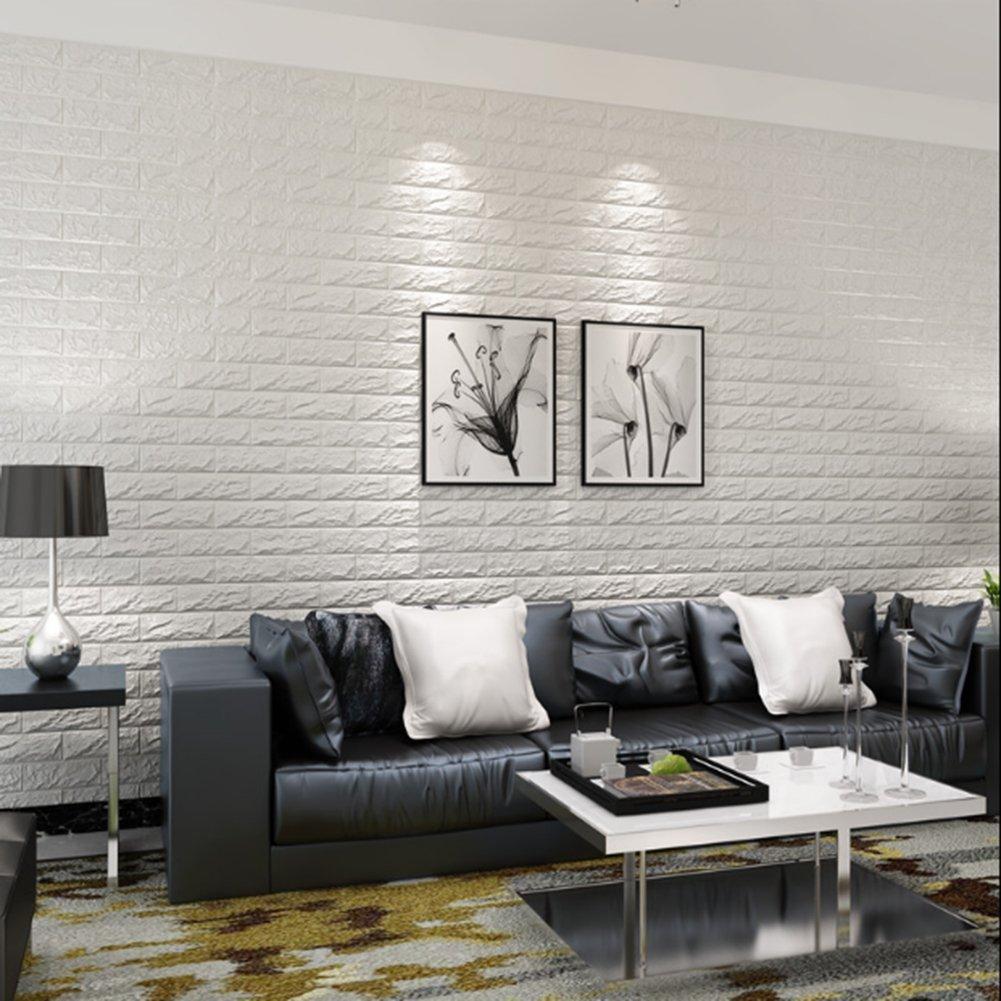 Self-adhesive 3D Wallpaper Mural Modern Stone Brick Wall Background ...