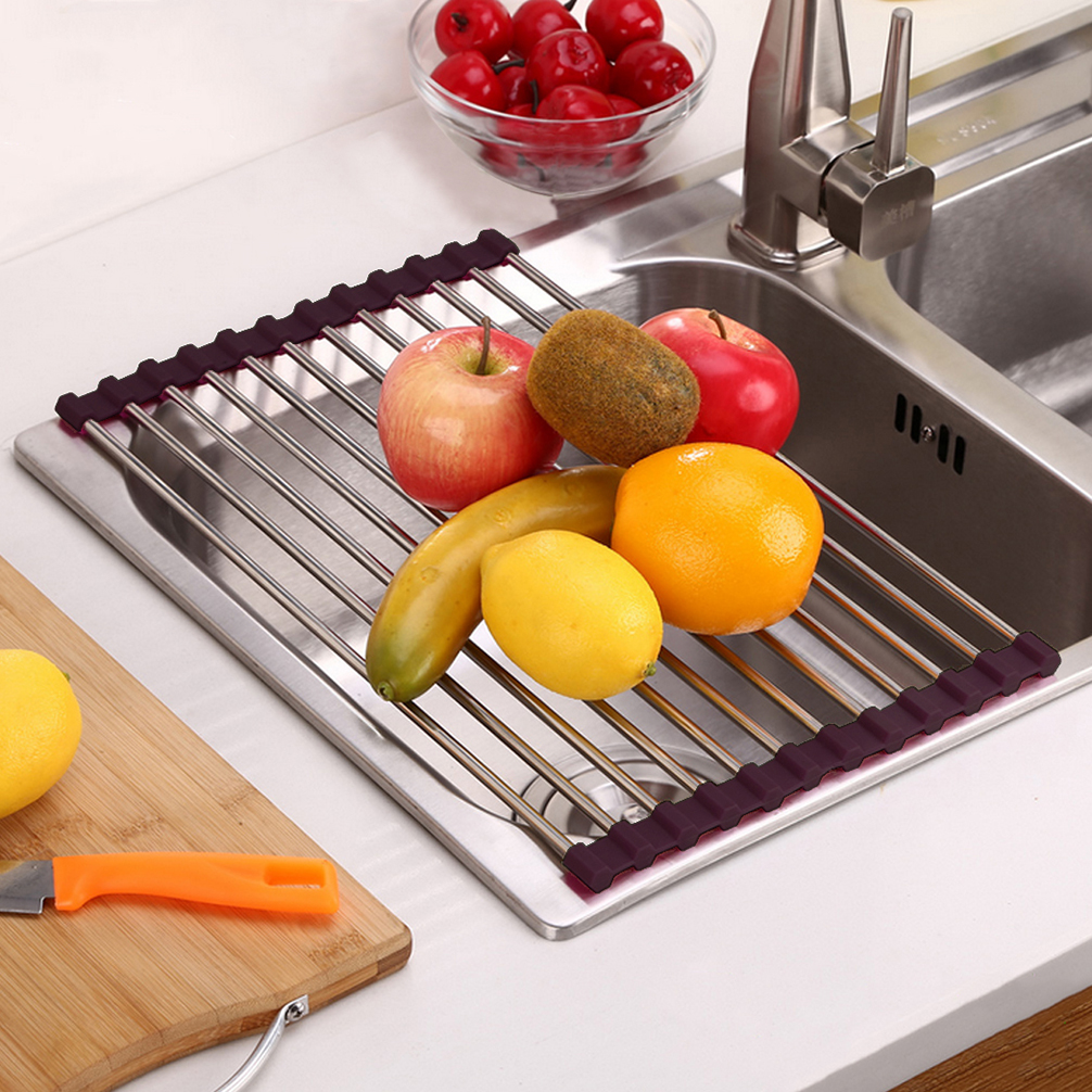 Over The Sink Kitchen Dish Drainer Drying Rack Roll Up