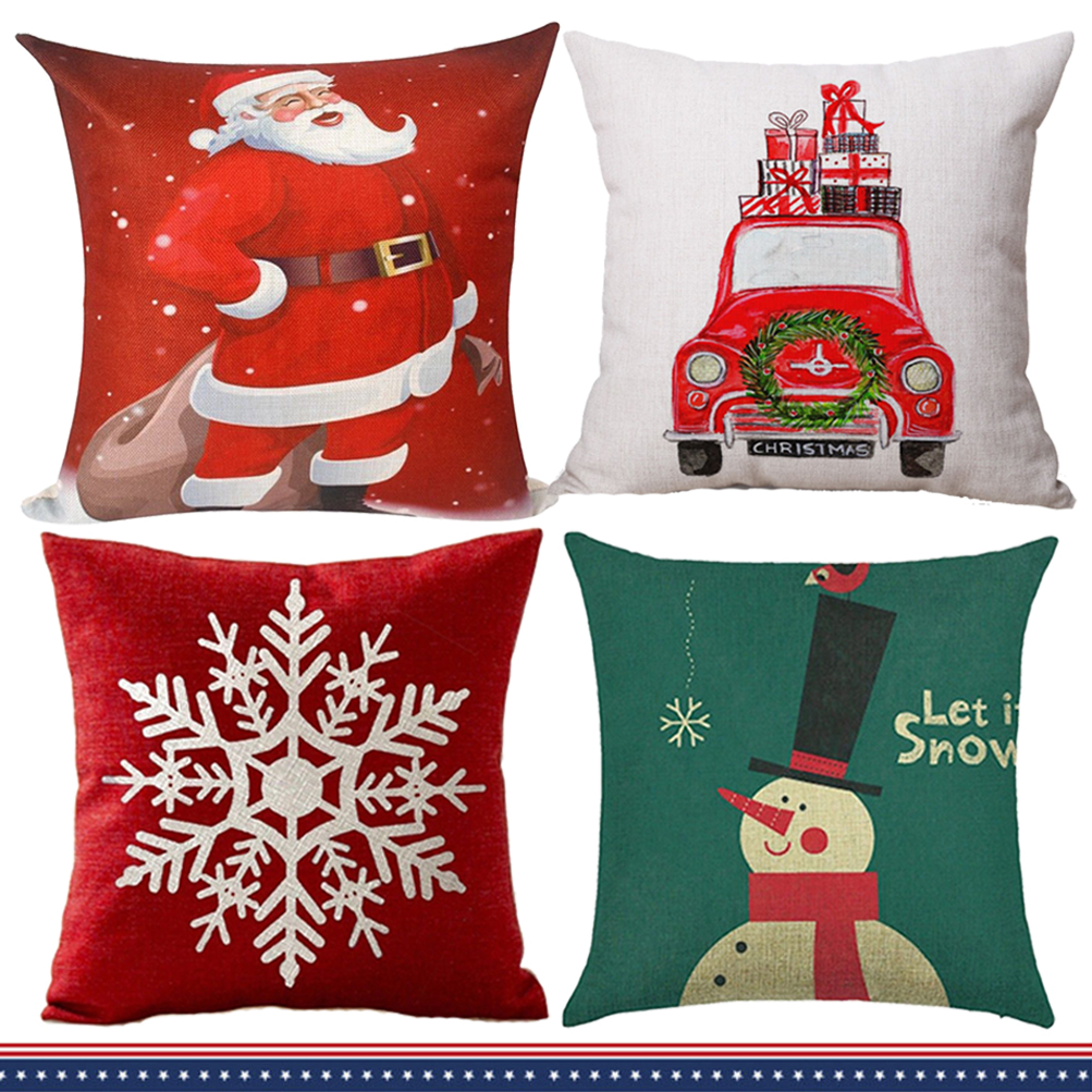 2x Christmas Linen Pillow Case Xmas Cushion Cover Square 18 Inch Red