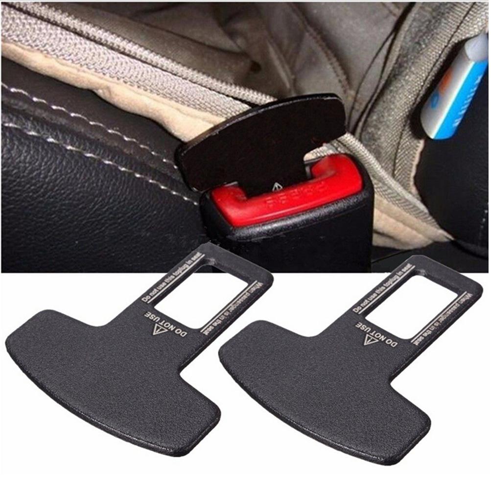 2pcs universal carbon fiber car safety seat belt buckle alarm stopper clip clamp ebay. Black Bedroom Furniture Sets. Home Design Ideas
