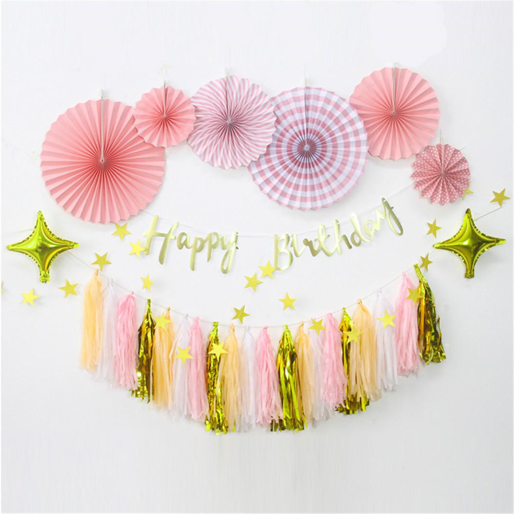 15Pcs Tissue Tassels Paper Garland Bunting Colour Party Balloon Xmas Decor