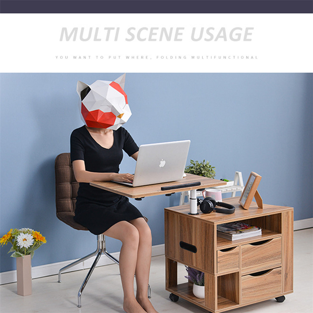 Bedside Table Swivel Desk Adjustable Wooden Nightstand W