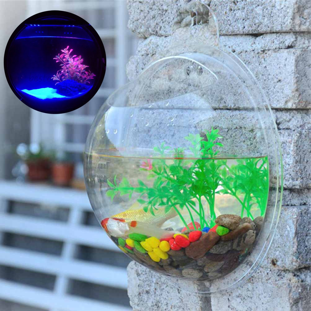 Aquarium fish tank price - Large Wall Mount Bubble Bowl Fish Tank Aquarium Beta Goldfish Clear Acrylic Pot