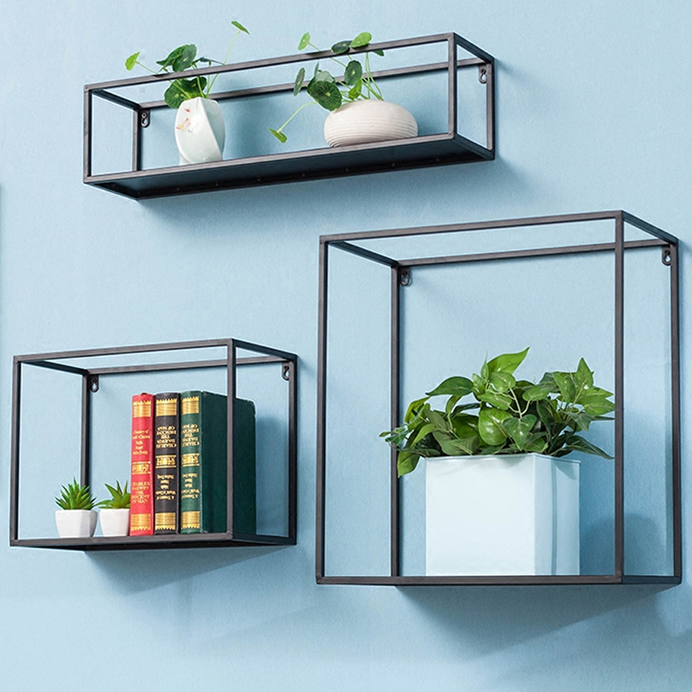 Rustic Iron 3 Floating Shelves Storage Wall Mounted for Bedroom ...