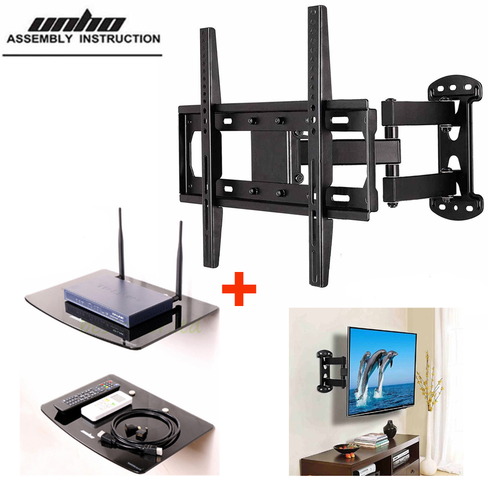 Full Motion Arm Tv Wall Mount With 2 Tier Dvd Floating Shelves Fits