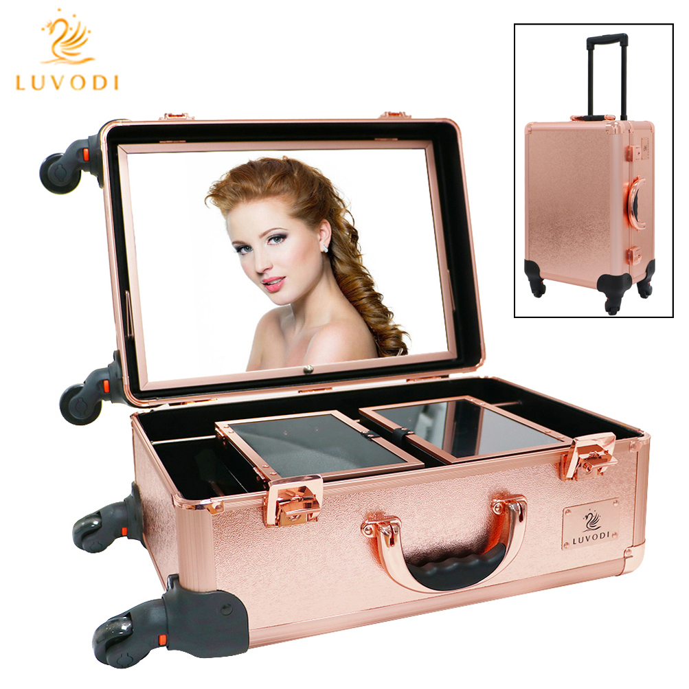 Luvodi Hollywood Cosmetic Makeup Trolley Case Led Lighted