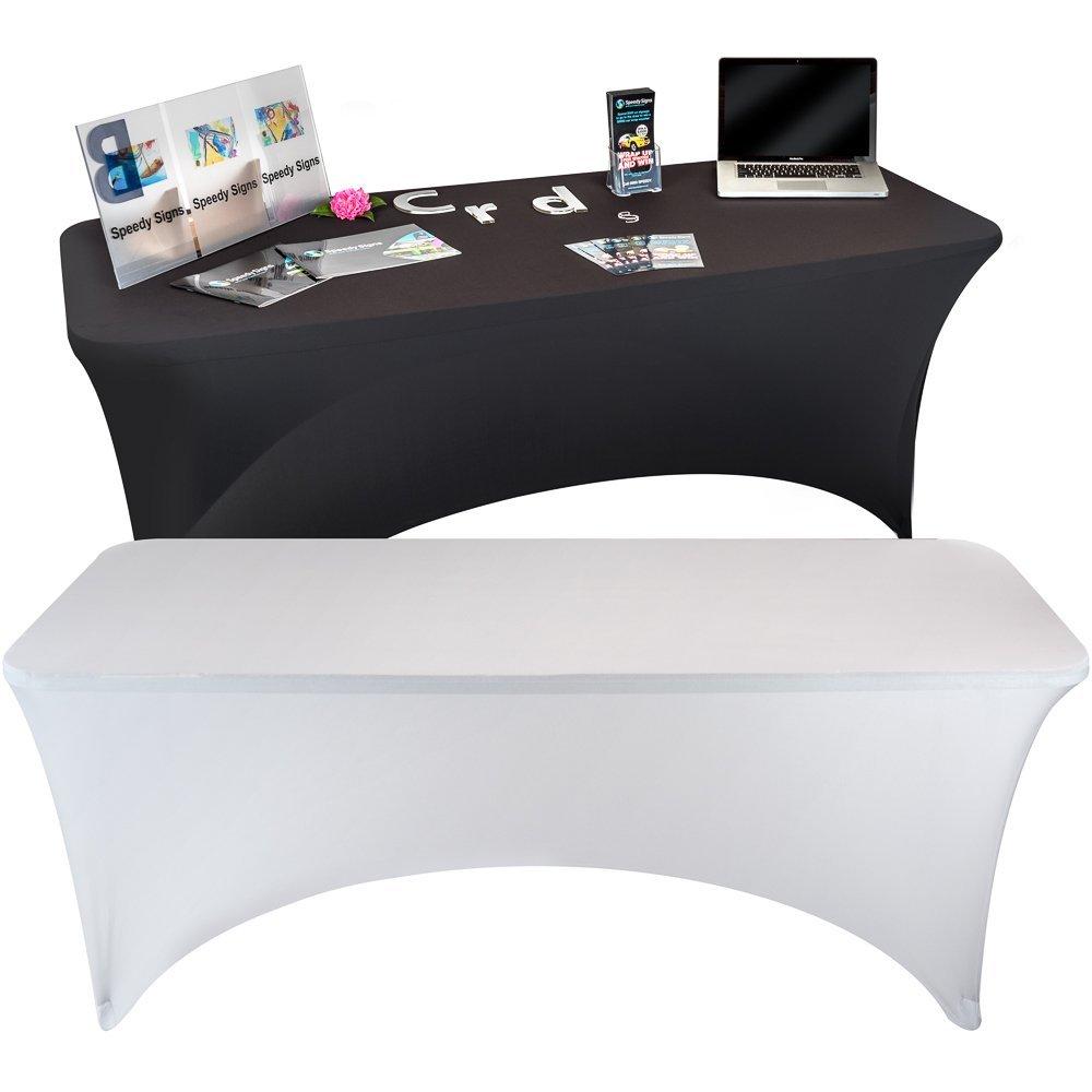 Stretch Tablecloth Rectangular Spandex Table Cover Fit DJ Tradeshows  Vendors USA