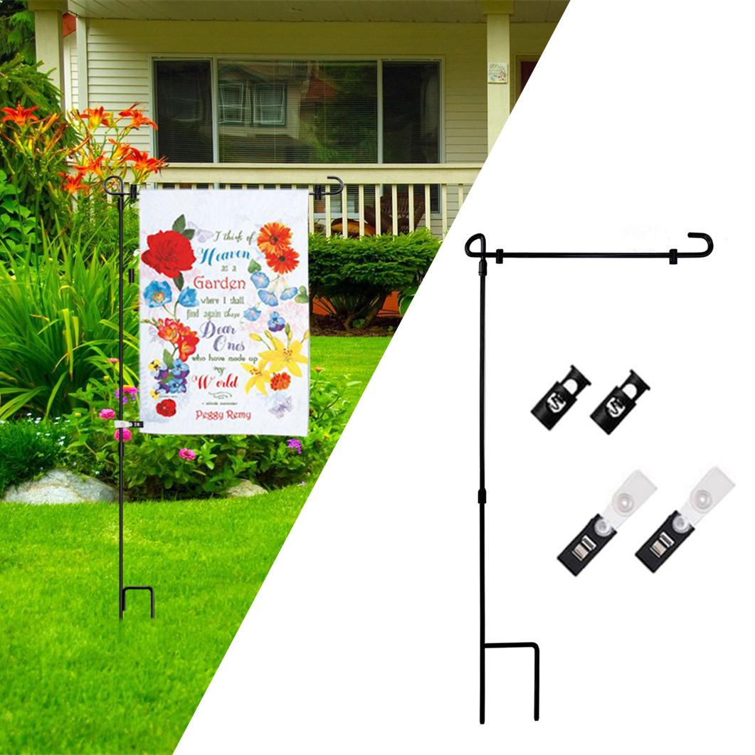 Garden Banner Bracket Rack Outdoor Flag Pole Yard Flagpole Stand Holder /& Clip
