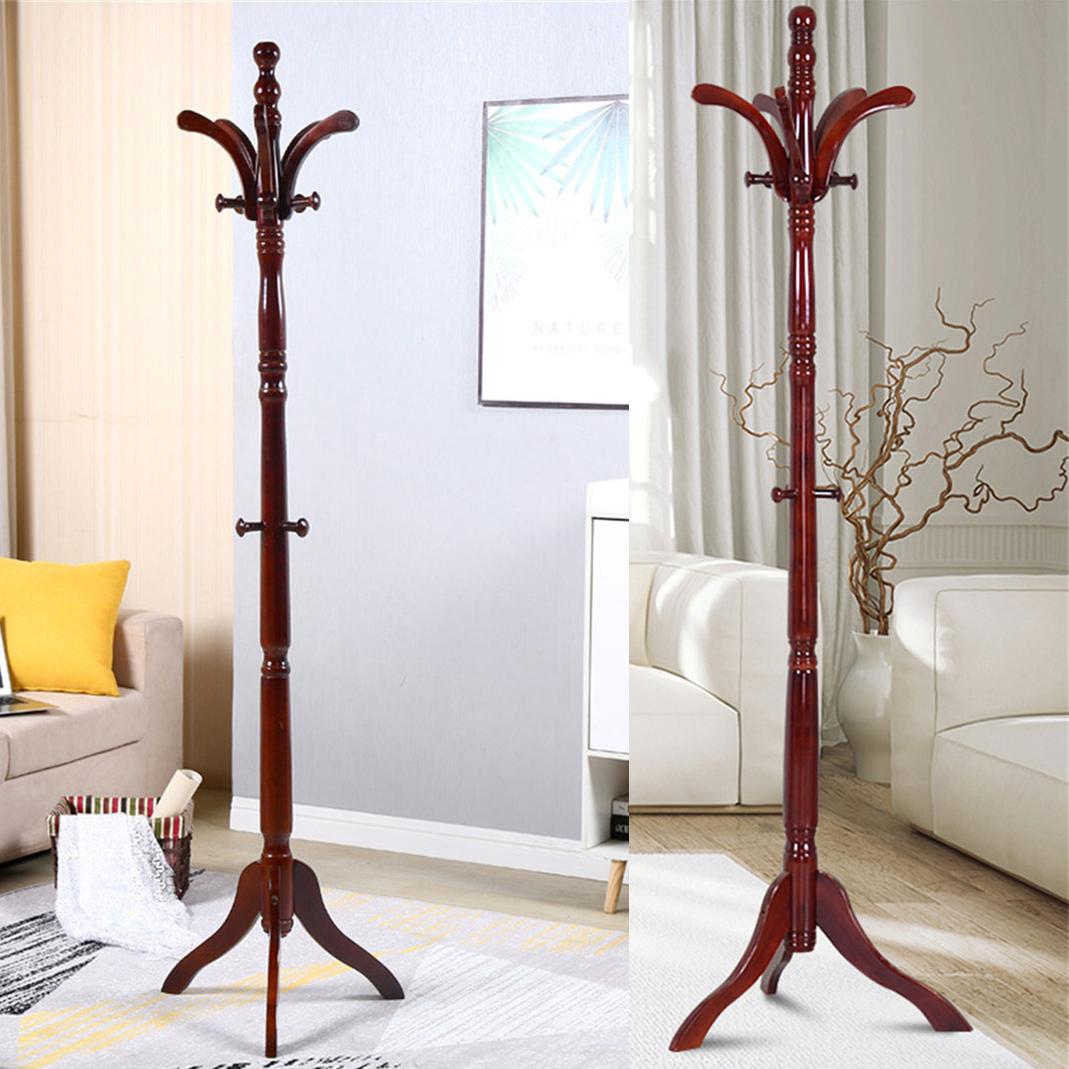 Premium Wood Coat Rack Free Standing Floor Stand Hall Tree Holder Wooden Hat Us Ebay