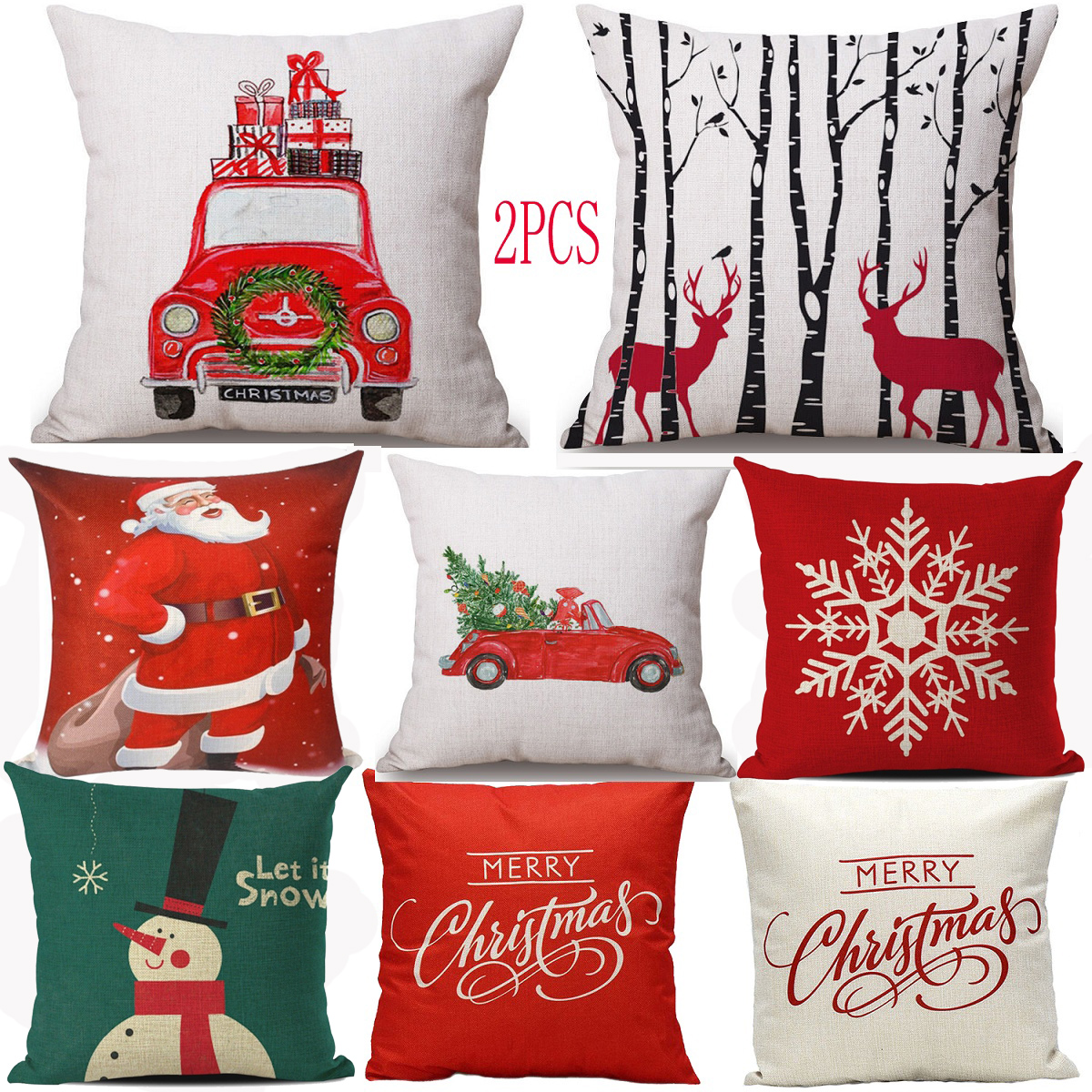 2pc christmas throw pillow covers cases pillowcase for couch sofa snowman santa - Christmas Decorative Pillow Covers