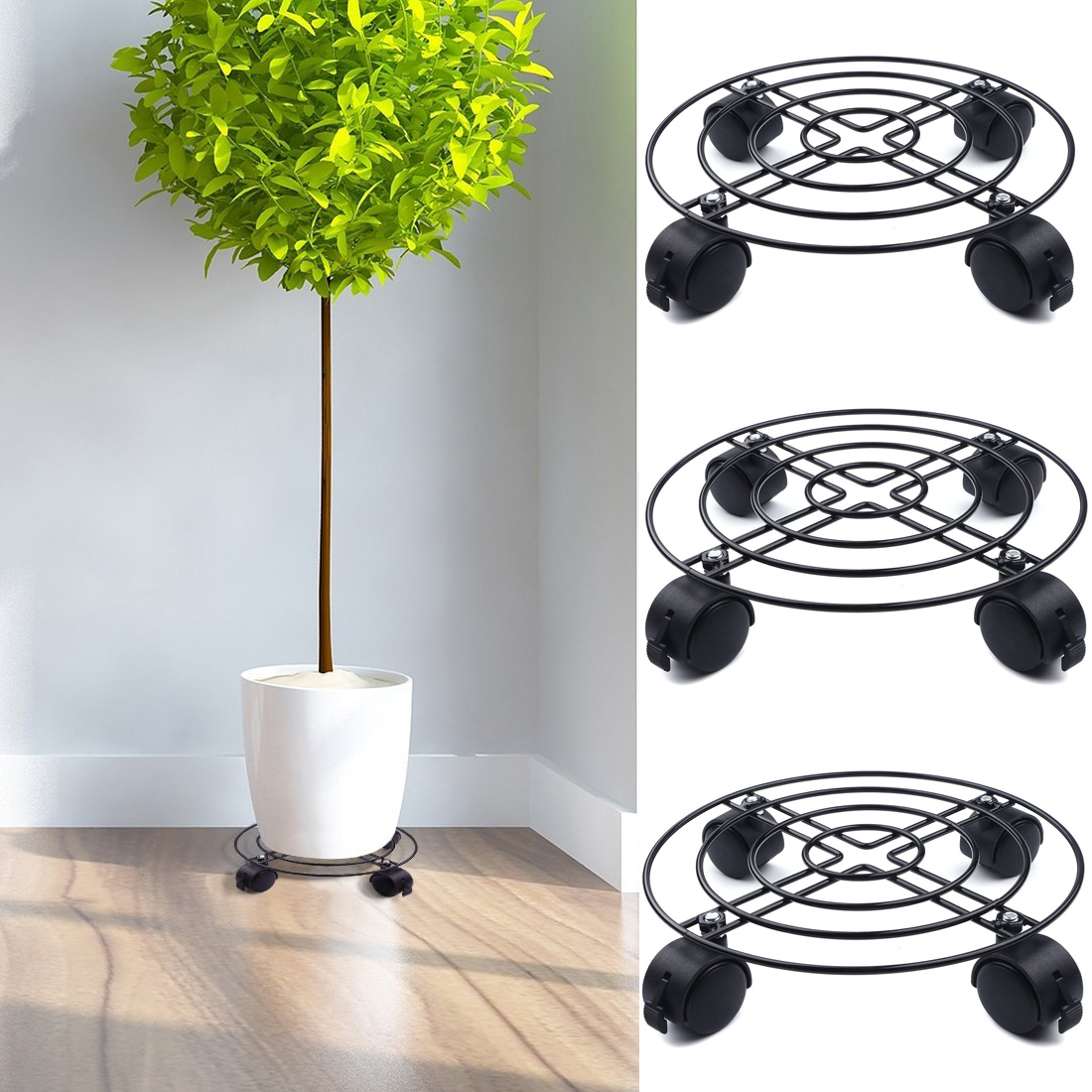 Garden & Outdoors Chrome-Plated Garden Pot Stand with Wheels