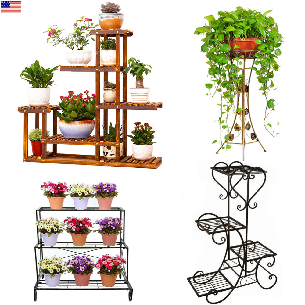 Set Of 3 Metal Christmas Carolers Outdoor Yard Display: 1/3/4 Tier Outdoor Indoor Wood Flower Pot Shelf Stand