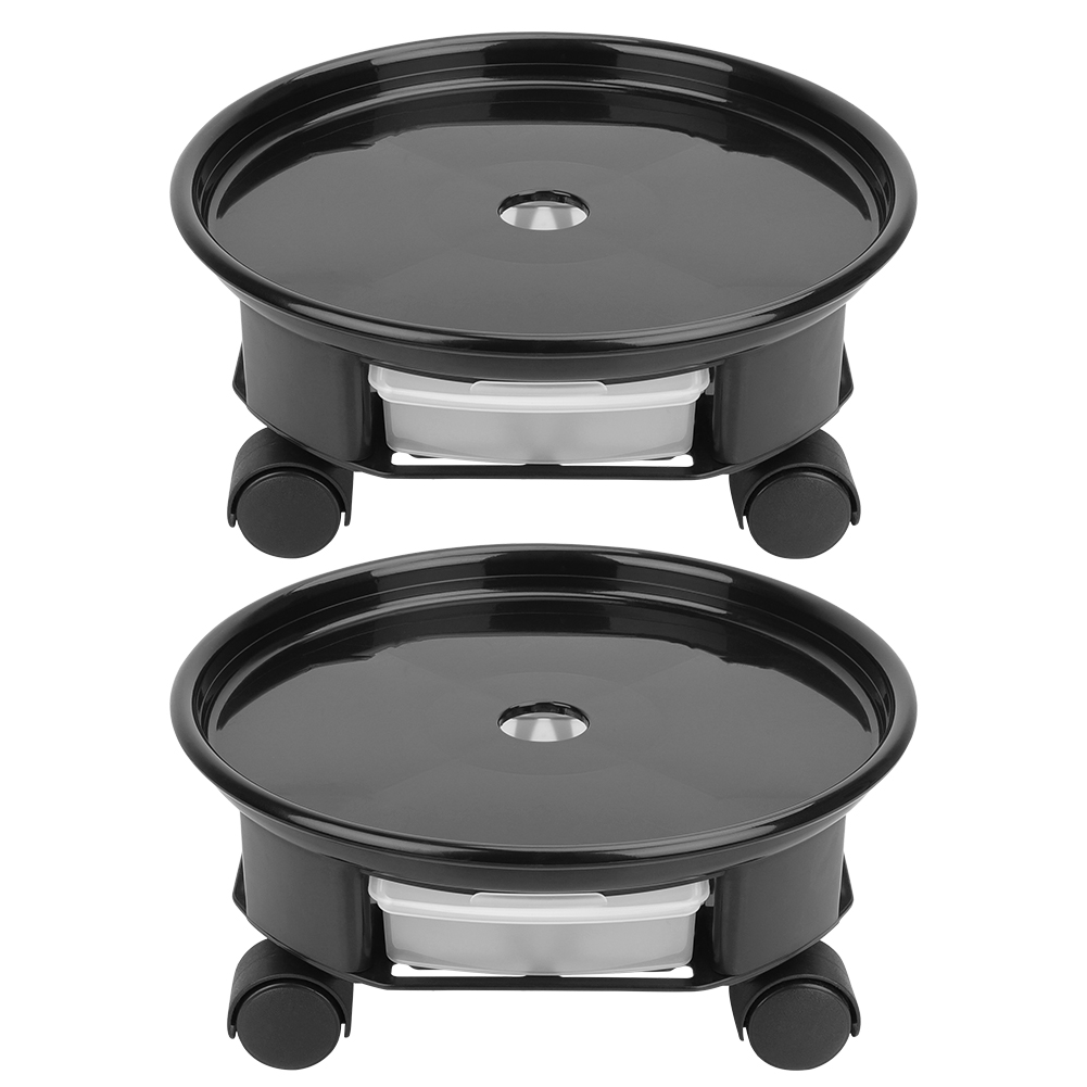 2PCS Plant Caddy on Wheels Rolling Plants Stand with Drainage Tray for Heavy Pot