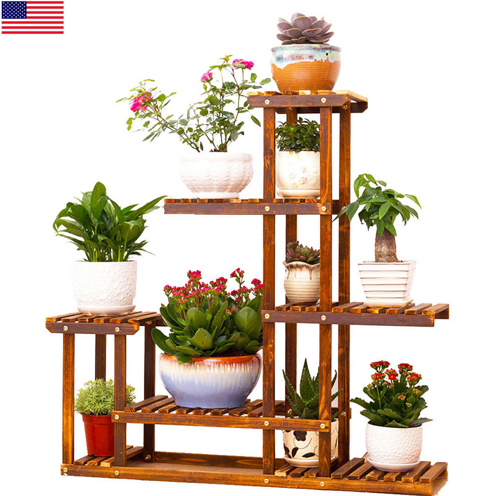 heavy duty wood 5tier plant stand shelf indoor outdoor. Black Bedroom Furniture Sets. Home Design Ideas