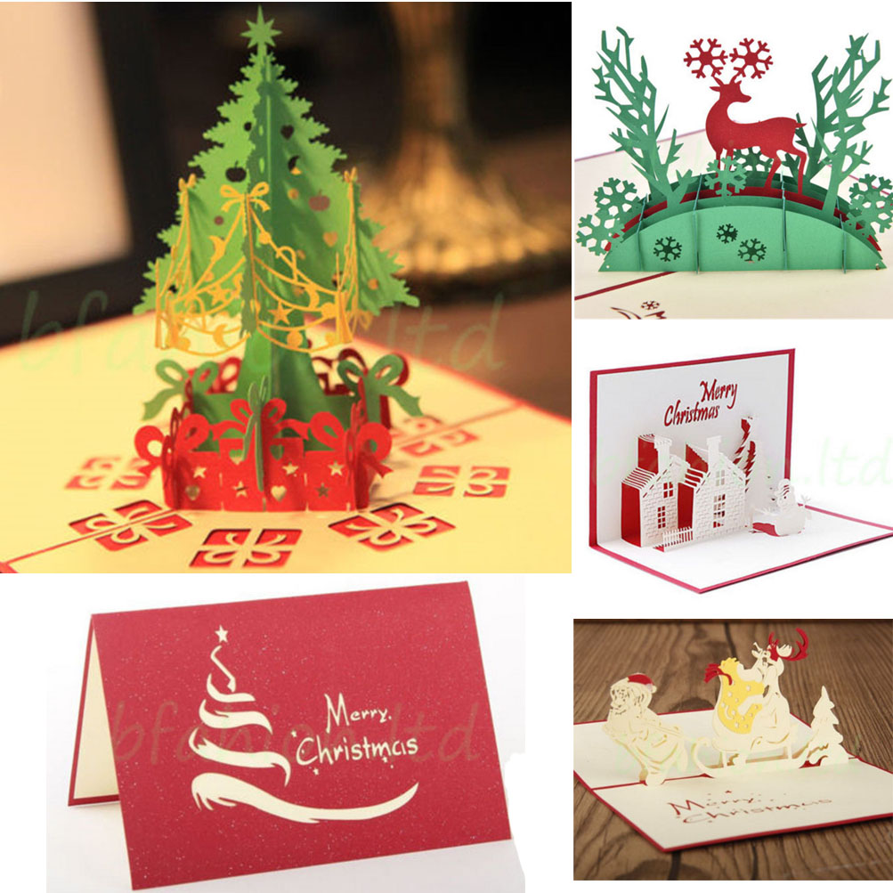 Detalhes sobre 5pc/Lot 3D Pop Up Christmas Cards Creative Origami Greeting Card Papercraft Gift