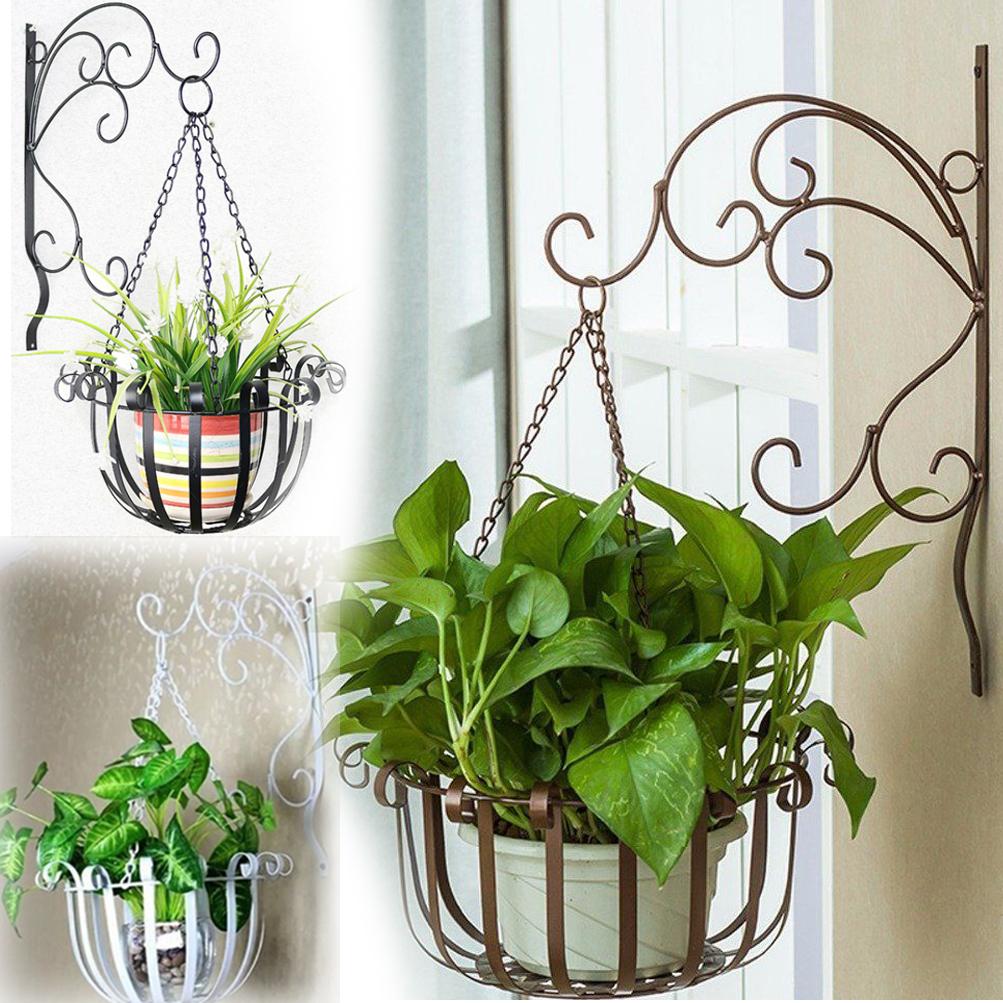 2pcs metal hanging flower pot chain basket planter holder indoor
