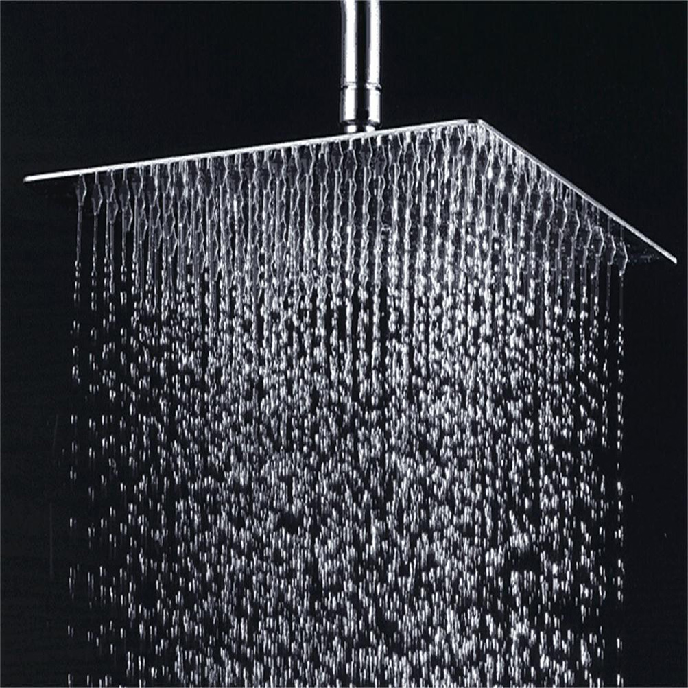 Heavy Duty Ceiling Rain Square 12 Inch Chrome Rainfall Shower Head ...