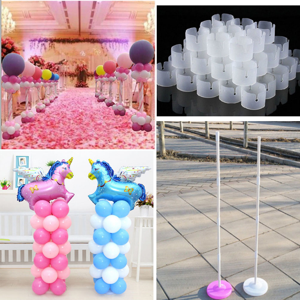 2 Sets Balloon Column Base Pole Stand Display Kit Wedding Birthday ...
