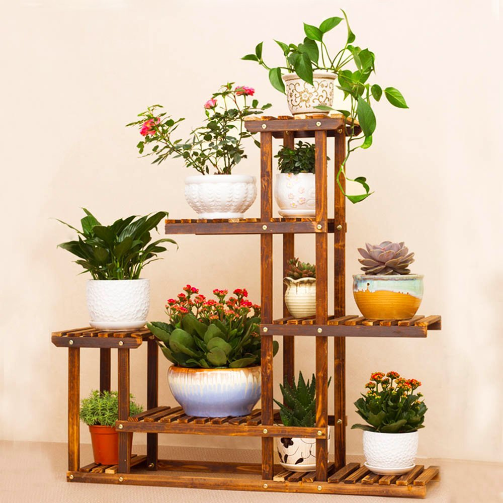 shabby chic rustic wood flower display step shelf unit plant stand shop florist ebay. Black Bedroom Furniture Sets. Home Design Ideas
