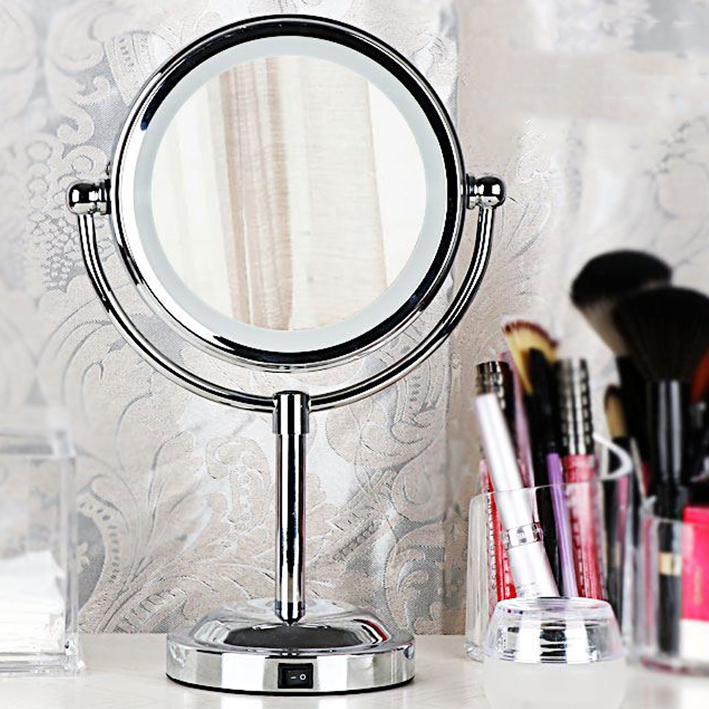 Round Magnifying LED Lighted Vanity Mirror Make Up Cosmetic Bathroom ...