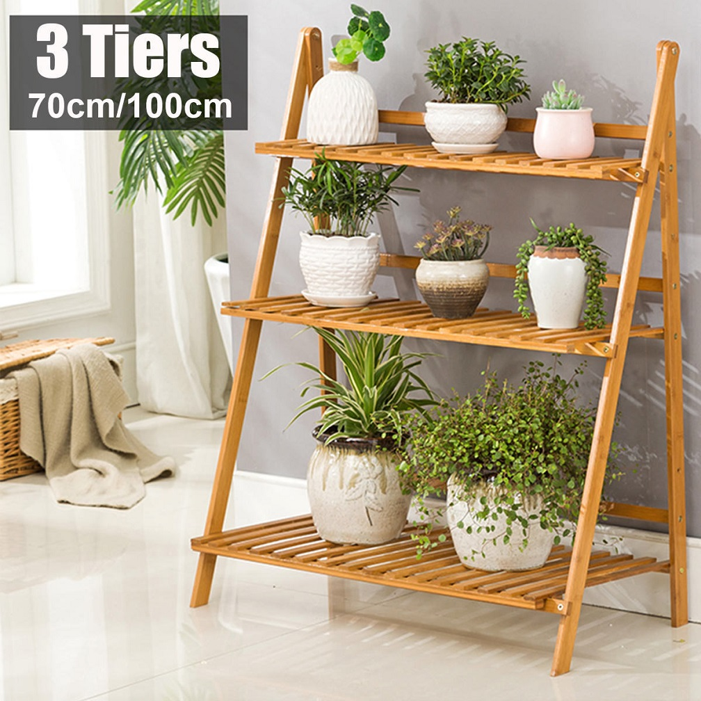 Yellow Bamboo 3 Tier Hanging Plant Stand Foldable Flower ... on Plant Stand Hanging  id=22670