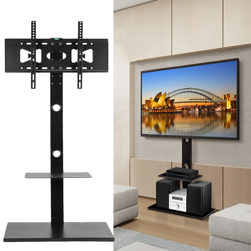 Cantilever Tv Stand With Shelf Mount Bracket Glass For 32 Up To 65
