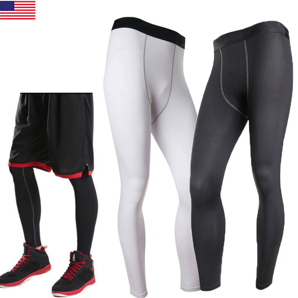 New Mens Black Red Winter Baselayer Long Pants Armour Compression Tights Gym