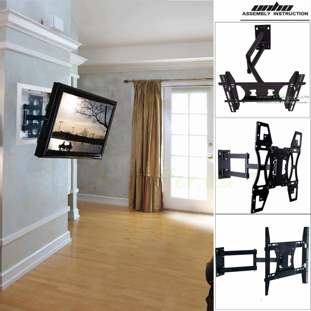 UNHO Universal TILT SWIVEL ARTICULATING CORNER TV WALL MOUNT BRACKET 22 -70  inch