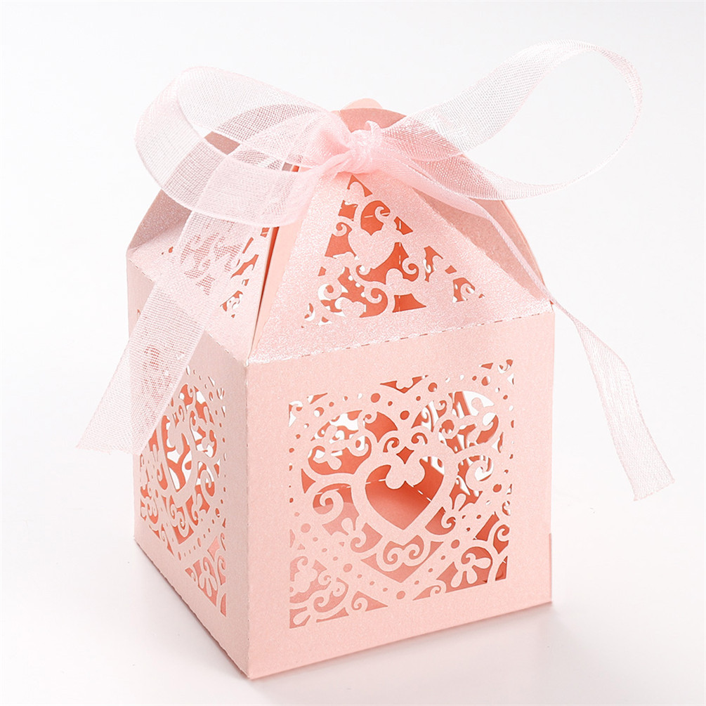 50 Pairs 2 Inches Love Heart Candy Gift Boxes With Ribbon Wedding ...