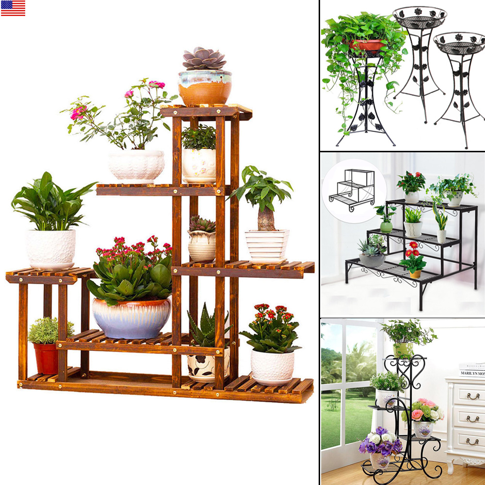 Large Size Metal Wood Floor Standing Pot Plant Stand