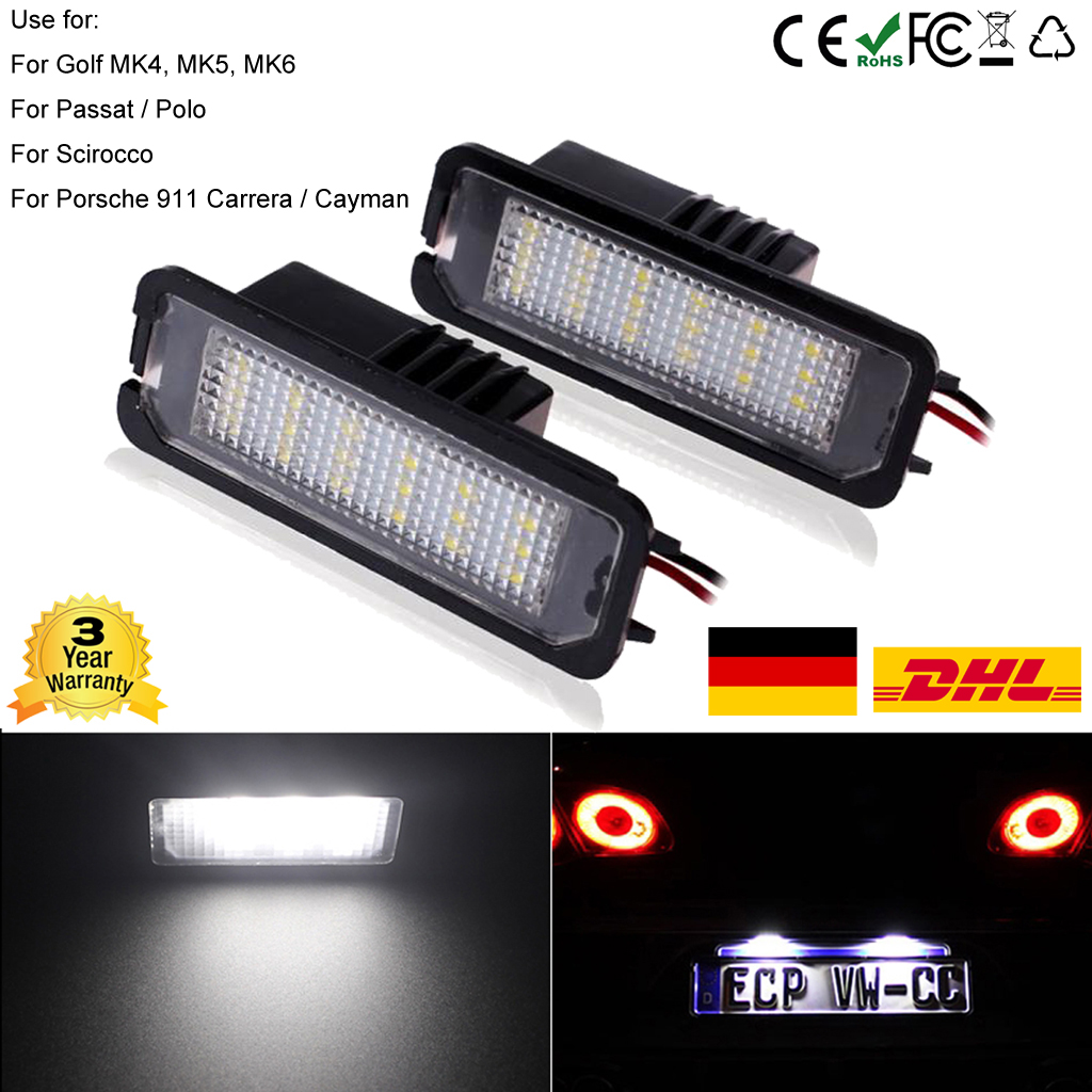 2X LED Kennzeichen Beleuchtung Nummernschildbeleuchtung VW GOLF ...
