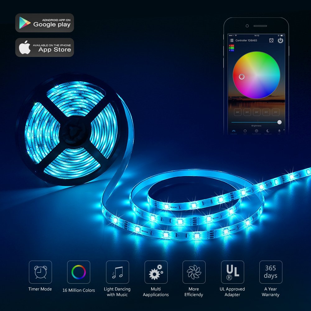 5m rgb 300led 5050 smart wifi streifen light alexa app 24key ir fernbedienung ebay. Black Bedroom Furniture Sets. Home Design Ideas
