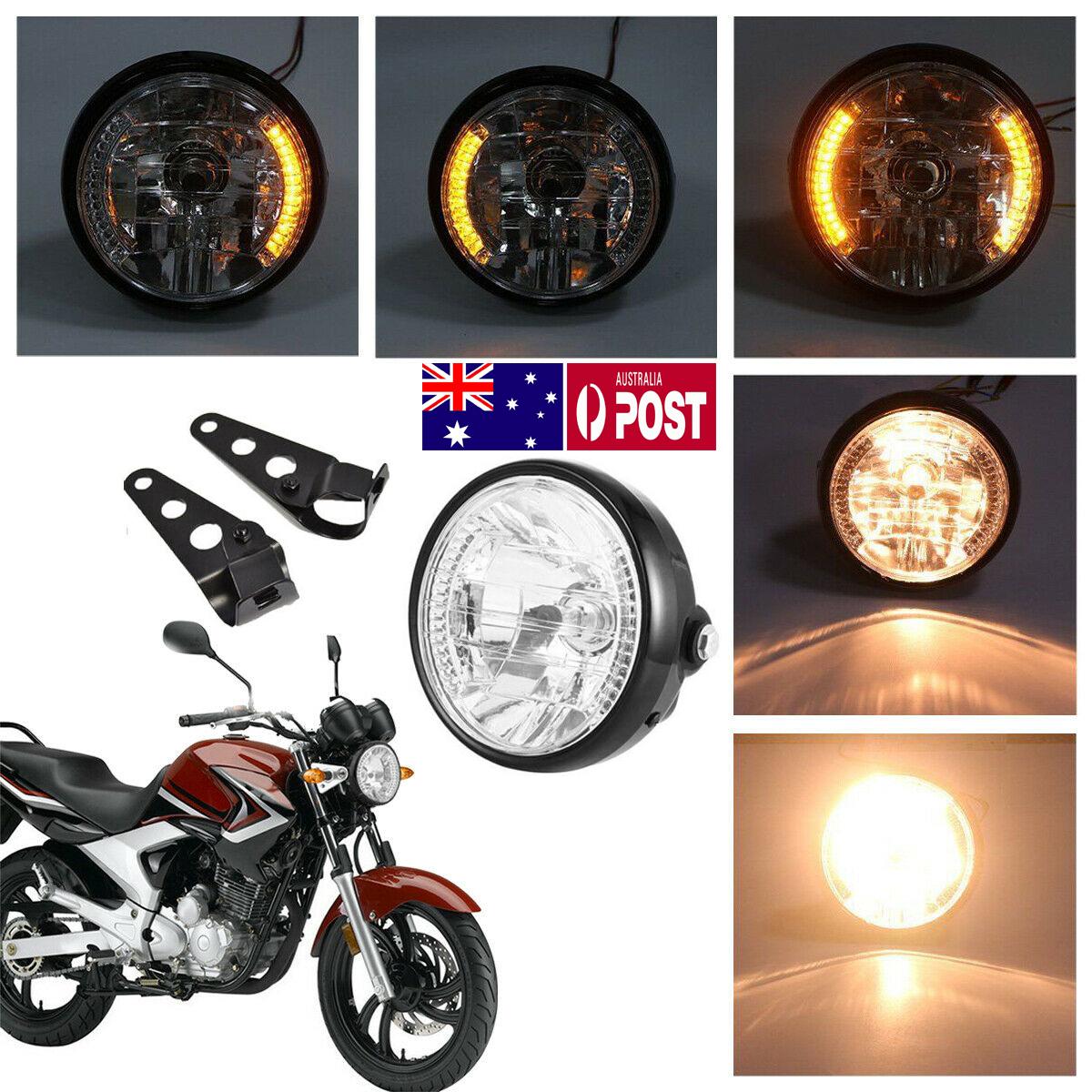 7 Round Universal Headlight 12V H4 35W Yellow Turn Signal Headlight with Bracket Motorcycle Headlight