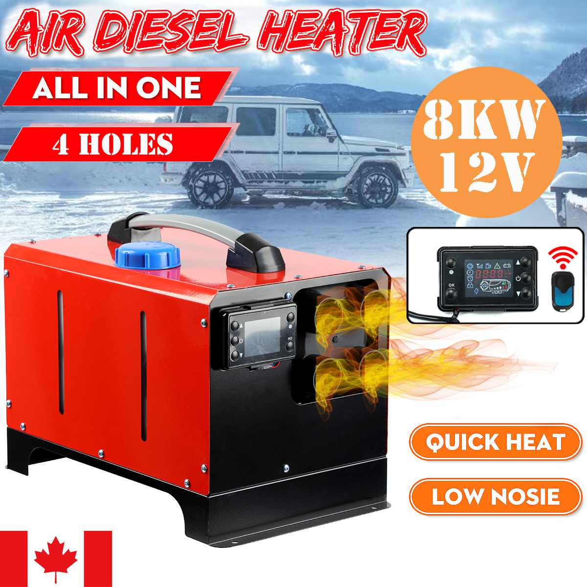 2KW 12V Air Diesel Heater Kit 1 Hole for Car Boat Truck Bus Motorhome Switch