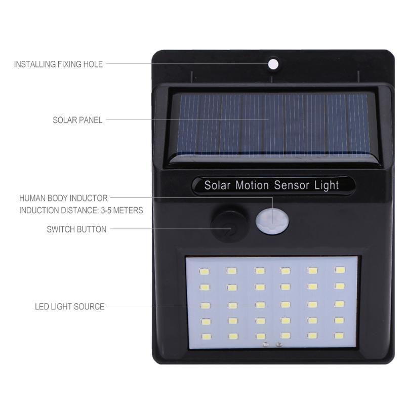 30  40  60 Led Solar Power Pir Motion Sensor Wall Light