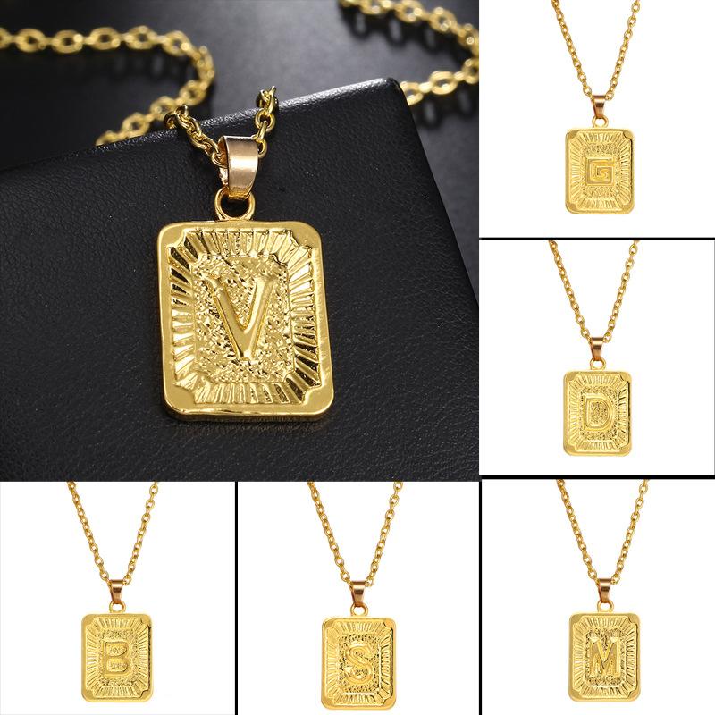 ec694f788707a Details about Men's Fashion 26 Letter Hip Hop 24K Gold Plated Necklace  Pendant Chain Jewelry