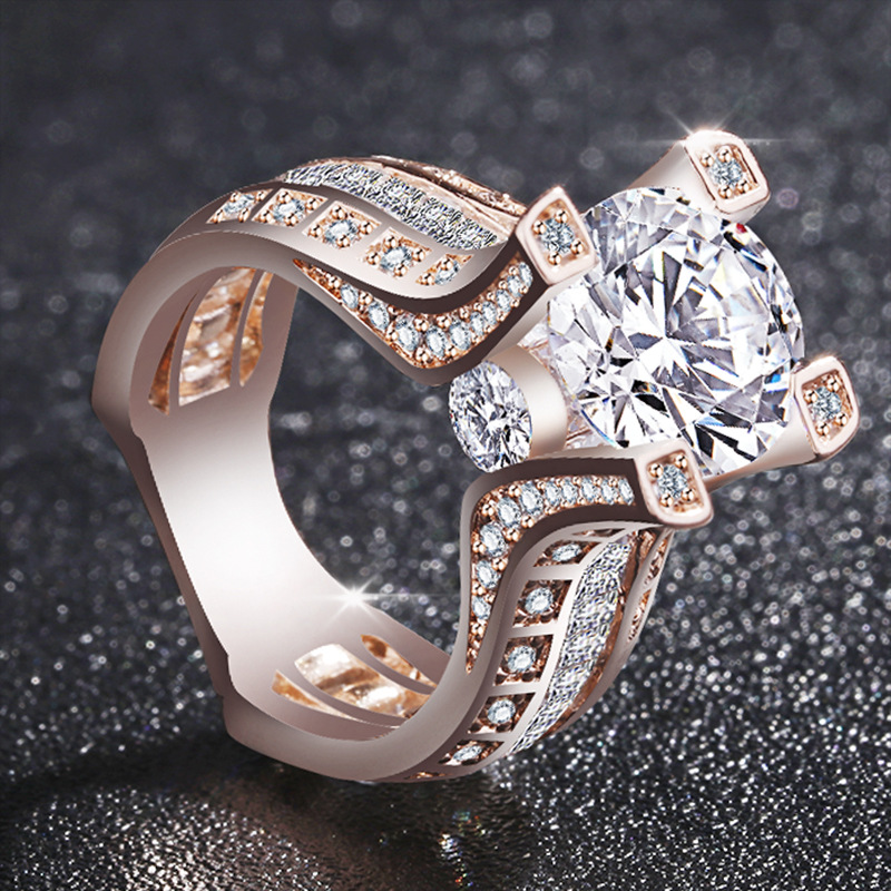 Noble Fashion Women 18K Rose Gold Filled White Sapphire Wedding Jewelry Ring