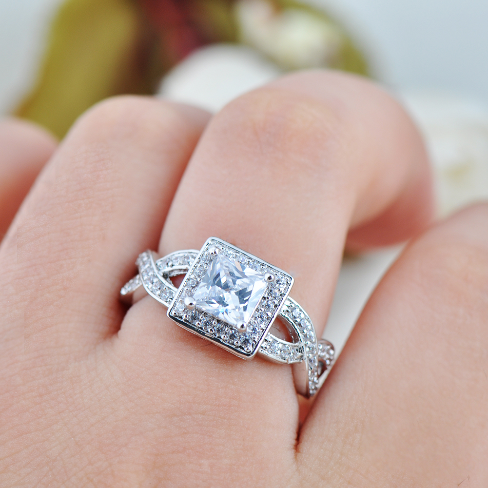 White Sapphire Women\'s Crystal White Gold Filled Wedding CZ Ring ...