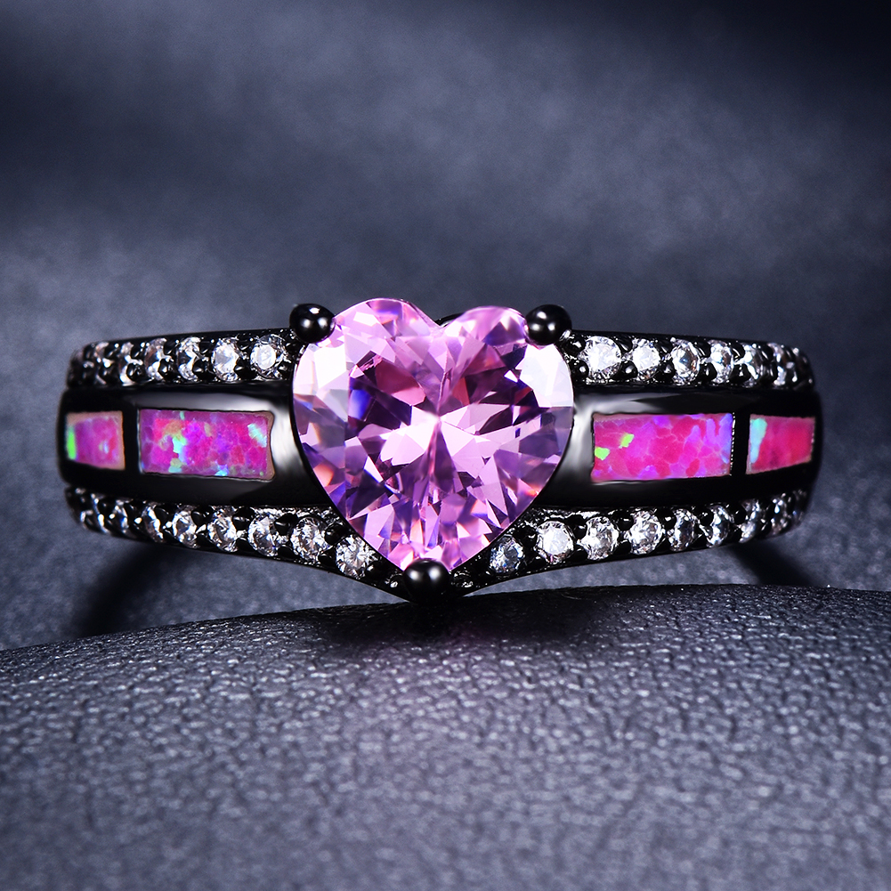 bc639432a8 Details about Vintage Black Gold Pink Heart Sapphire Fire Opal Ring Women  Wedding Jewelry Gift