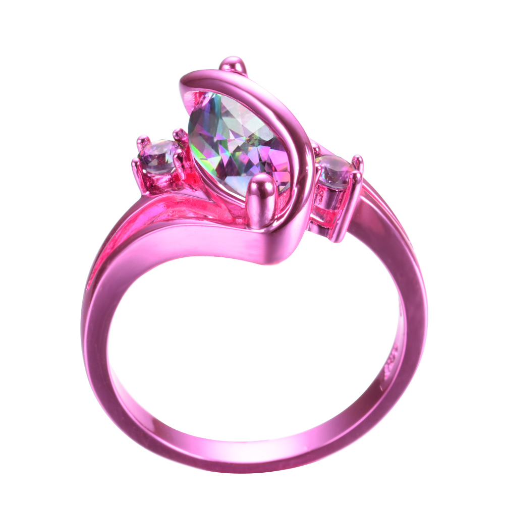 Marquise Cut Rainbow Topaz S Shape Wedding Ring Pink Gold Jewelry ...